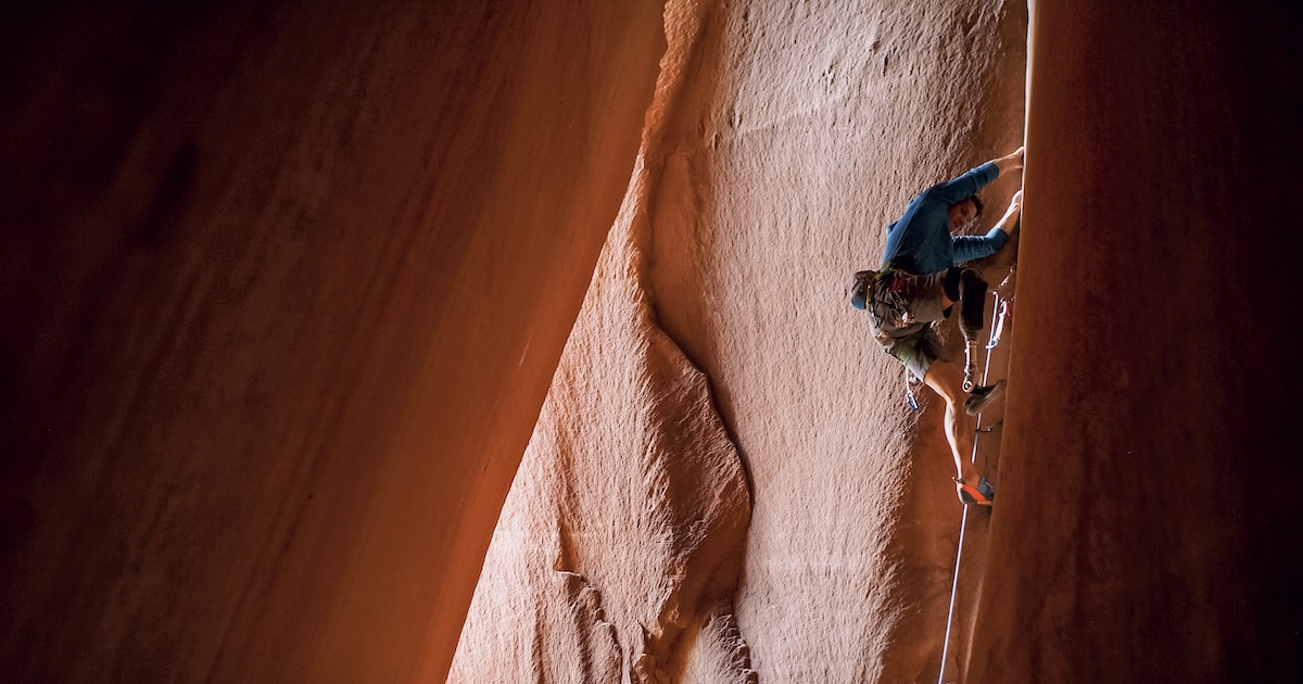 DeMartino on Cave Route (5.10+), Bears Ears National Monument. [Photo] Jordan Manley