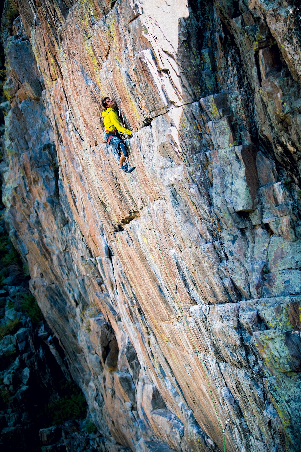 DeMartino leads Tailspin (5.12b), Poudre Canyon, Colorado. [Photo] Cameron Maier/Bearcam Media