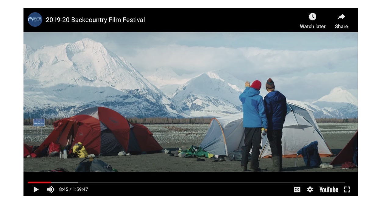 A screenshot of the Winter Wildlands Alliance Backcountry Film Fest video. [Photo] Derek Franz