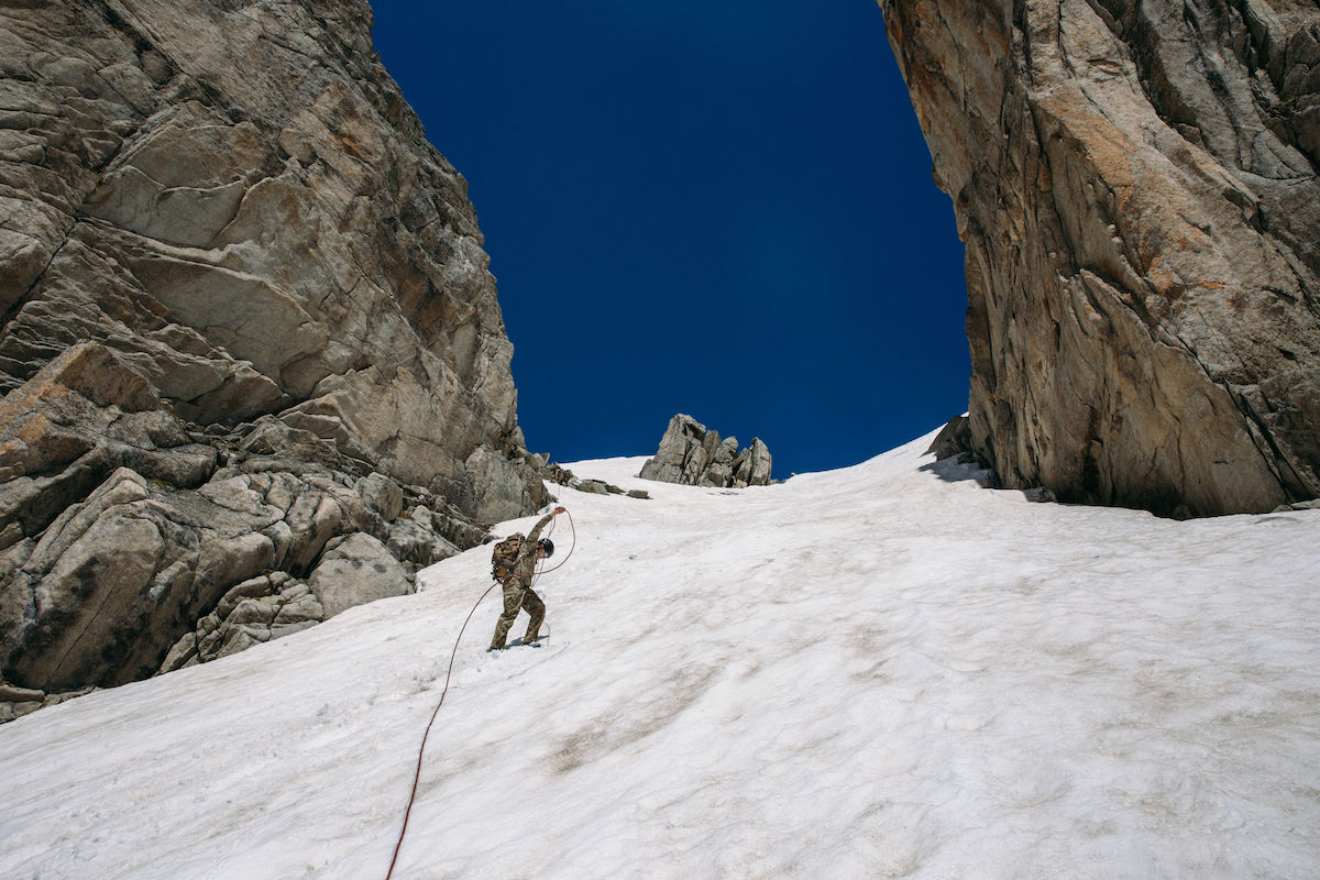Fry descends a couloir on Chli Bielenhorn [Photo] Tyler Casey