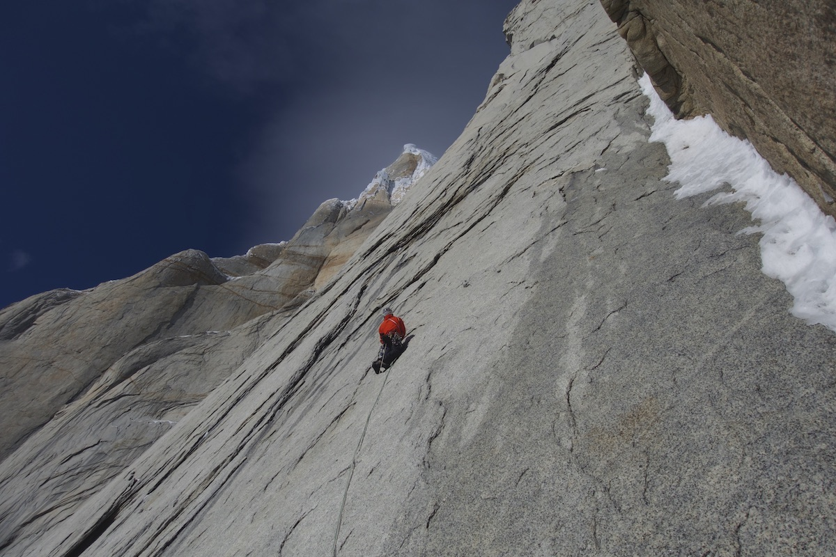 On the first ascent of Marc-Andre's Vision. [Photo] Courtesy of Brette Harrington