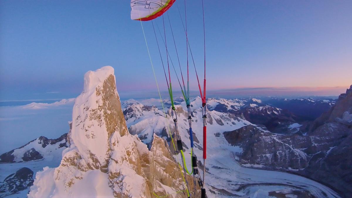 Fabian Buhl's paraglide flight off the summit of Cerro Torre. [Photo] Courtesy of Fabian Buhl