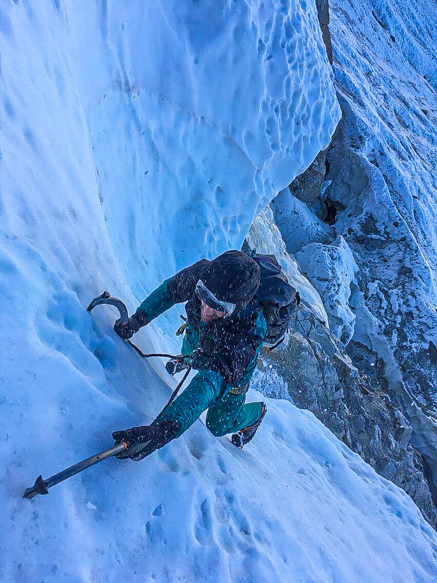 McCrea compares one of the new Petzl Quark tools to the previous model on Mt. Humphreys in the Sierra Nevada Range. [Photo] Ian McElleny