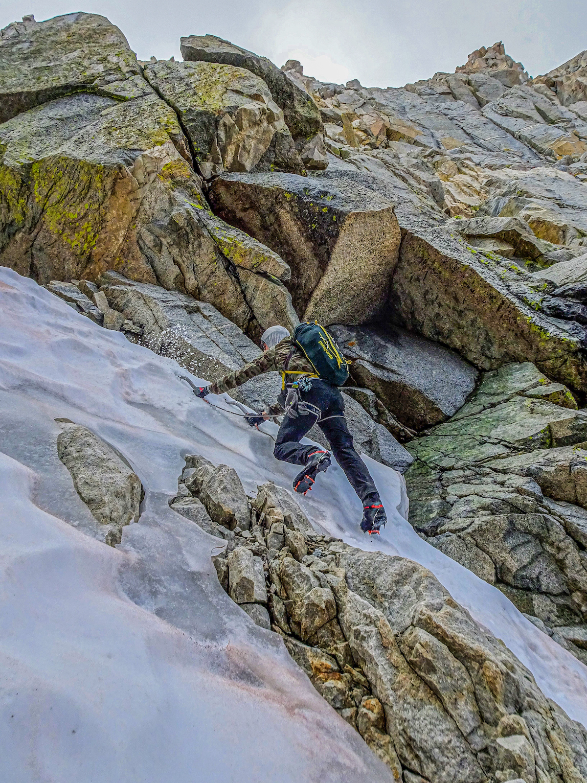 Sinker sticks in sweet summer Styrofoam (alpine ice). The Quarks are the perfect companion for icy, snicey couloirs. McCrea is pictured here in the Dress for Less Couloir, Mt. Tom Ross, Sierra Nevada Range. [Photo] Richard Shore