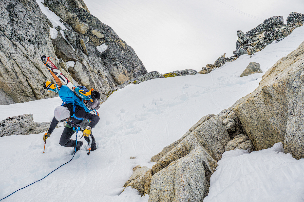 With the GRIPREST stored up and out of the way, the Quark ice tool easily plunges into snow. McCrea is pictured here in the Upper Monolith Glacier, Kichatna Range, Alaska. [Photo] Zach Lovell