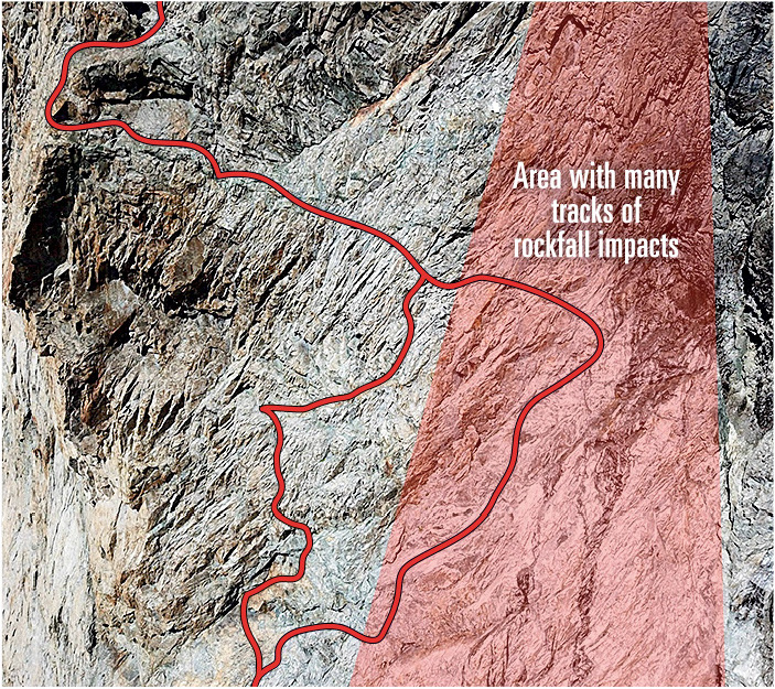 [Inset from previous photo] The main area of impact from the 2018 rockfall, overlaid in red, with the Voie Normale and the more technically difficult new variation that avoids this hazardous section. (Drawings by Benjamin Ribeyre.) [Photo] Benjamin Ribeyre, with a drone and special authorization from Parc national des Ecrins