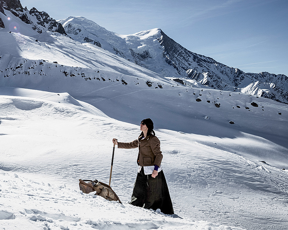 Ines Papert at the Glacier des Pelerins in front of the slopes of Mont Blanc during her attempt at a historical reenactment of Mary Isabella Straton's first winter ascent, with two guides, in 1876. [Photo] Thomas Senf