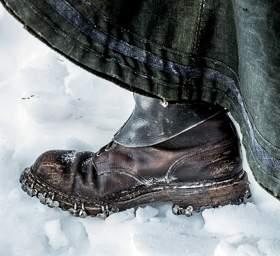 The 100-year old boots alpinist Papert borrowed from a museum collection for her March 2019 attempt to re-create the first winter ascent of Mont Blanc. [Photo] Thomas Senf