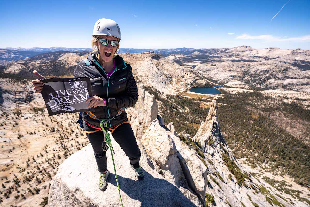 Thanks to an American Alpine Club Live Your Dream Grant and some guidance from her son, this mother did something she never thought she would and climbed Cathedral Peak in Yosemite. [Photo] Austin Schmitz