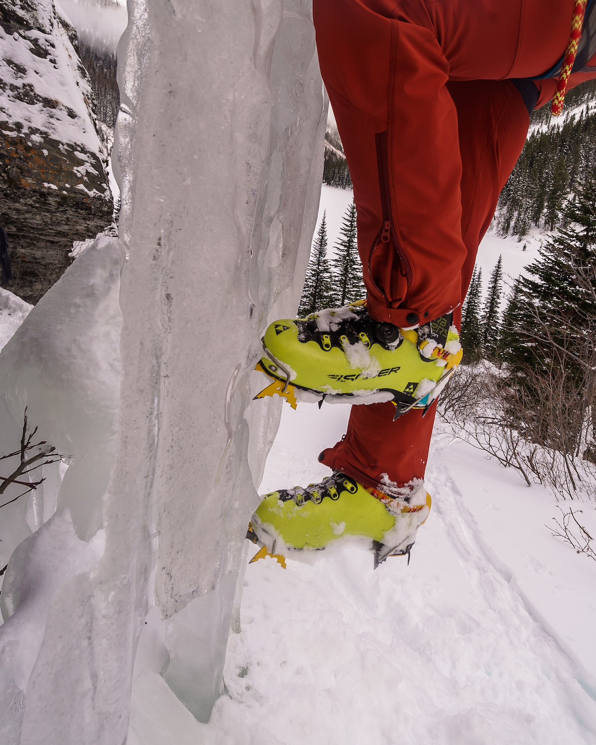 The author kicking ice with the Grivel G20 Plus crampons mounted to his Fischer Travers ski boots, Granite Lake, Cabinet Mountains, Montana. [Photo] Craig Pope