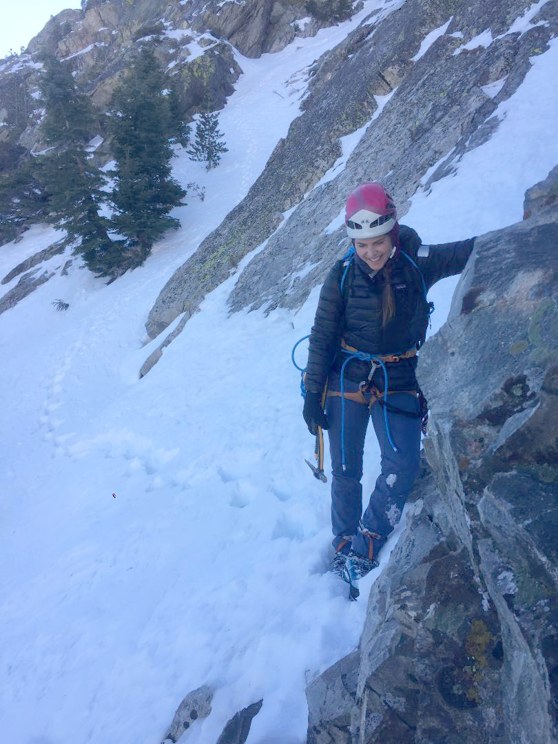 Whitney Clark emerges from a couloir on Carson Peak in California. [Photo] Tess Smith