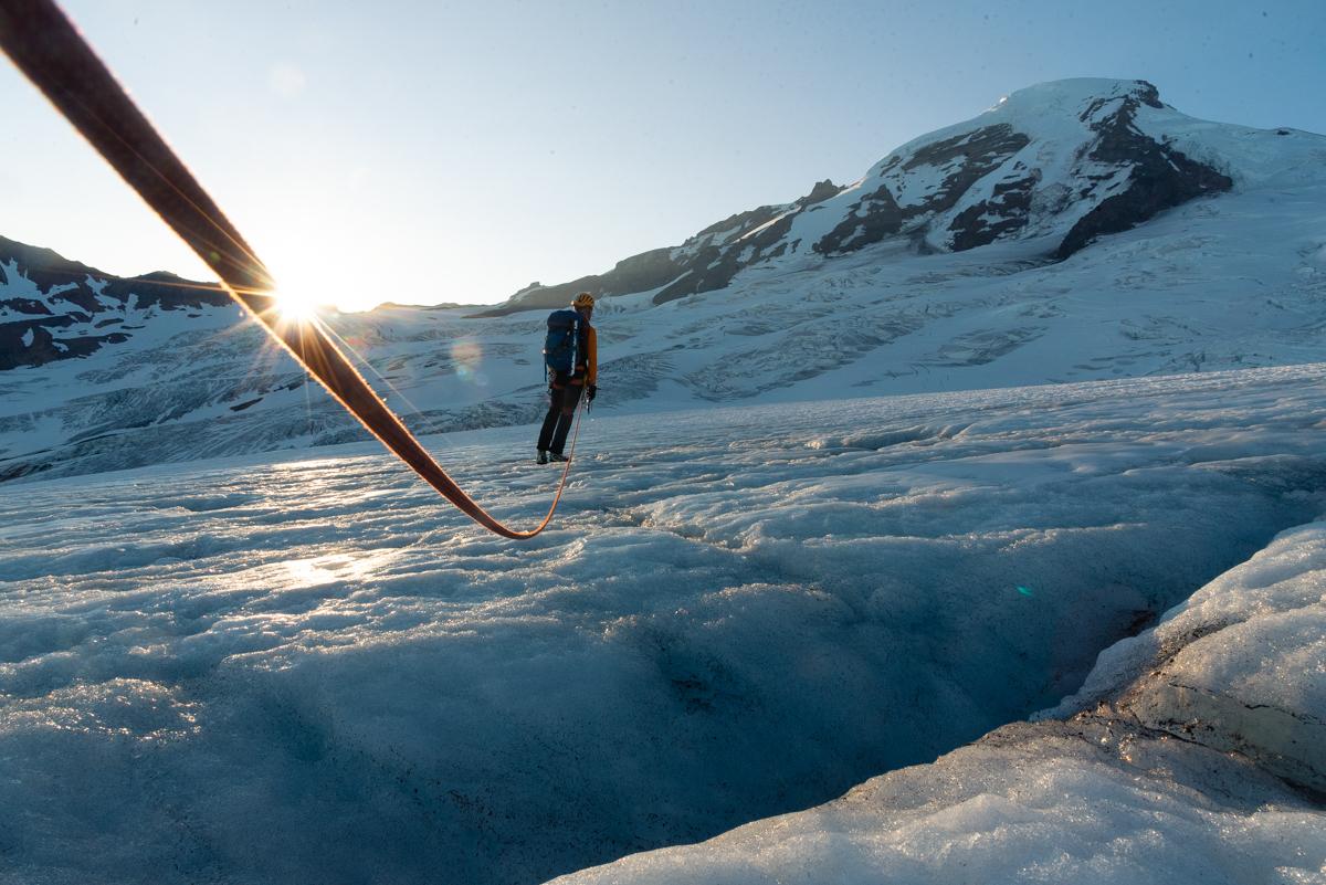 Bradley Briggs ascends broken terrain on the Coleman Glacier of Koma Kulshan (Mt. Baker), Washington. [Photo] Matthew Tangeman