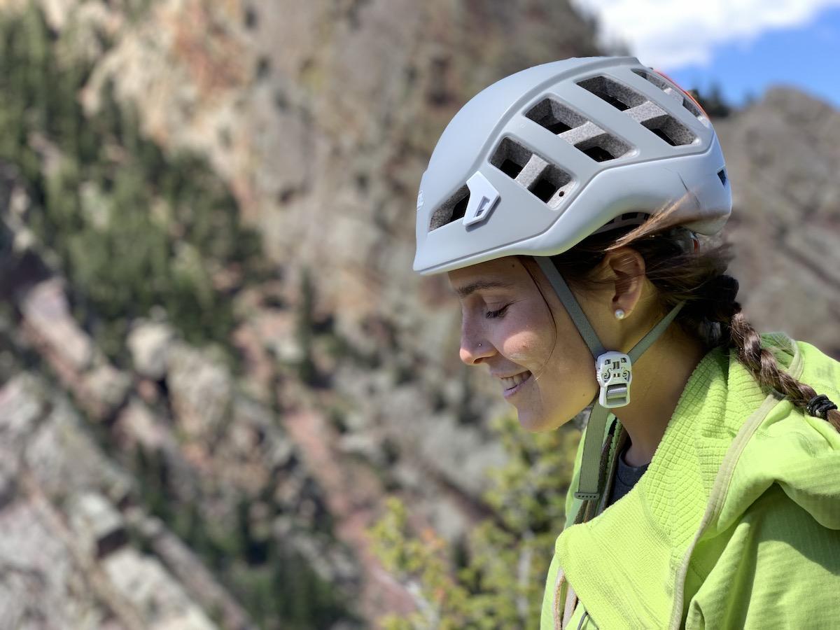 Aisha Weinhold rocking the Petzl Meteor helmet in Eldorado Canyon, Colorado. [Photo] Steve Denny