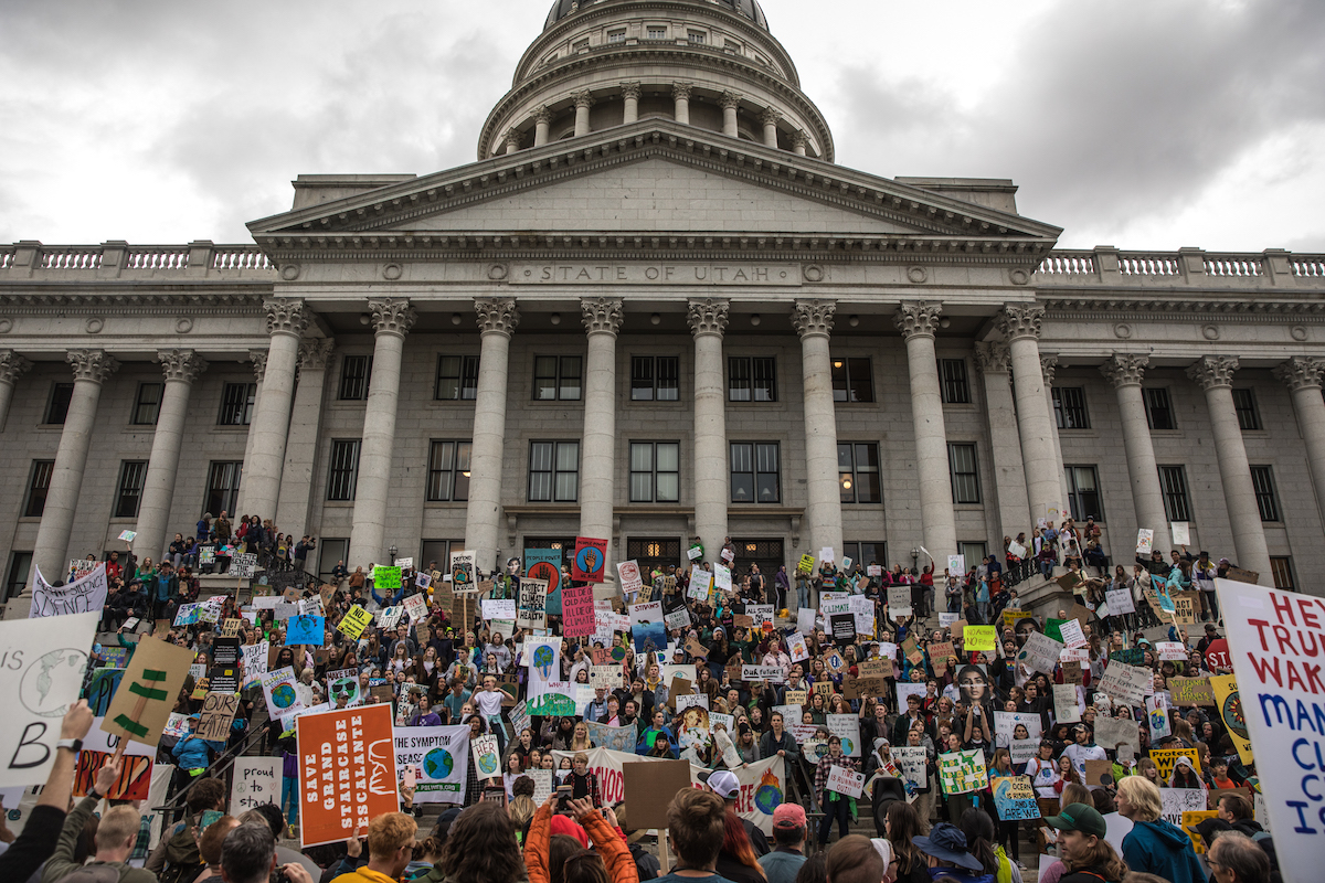 Supporters of Bears Ears National Monument gather on the Utah capitol in 2017. The rally was held during the last Outdoor Retailer hosted by Salt Lake City. [Photo] Andrew Burr