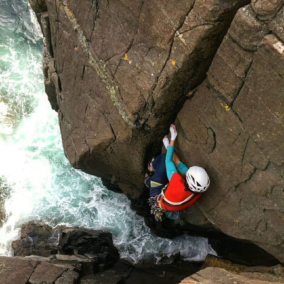 Massri climbing True Colours, Isle of the Skye, Scotland. [Photo] Nathan Adam