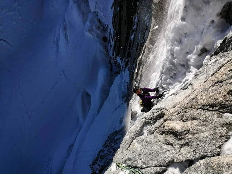 Supercouloir on Mt Blanc du Tacul, Chamonix, France. [Photo] Tim Exley