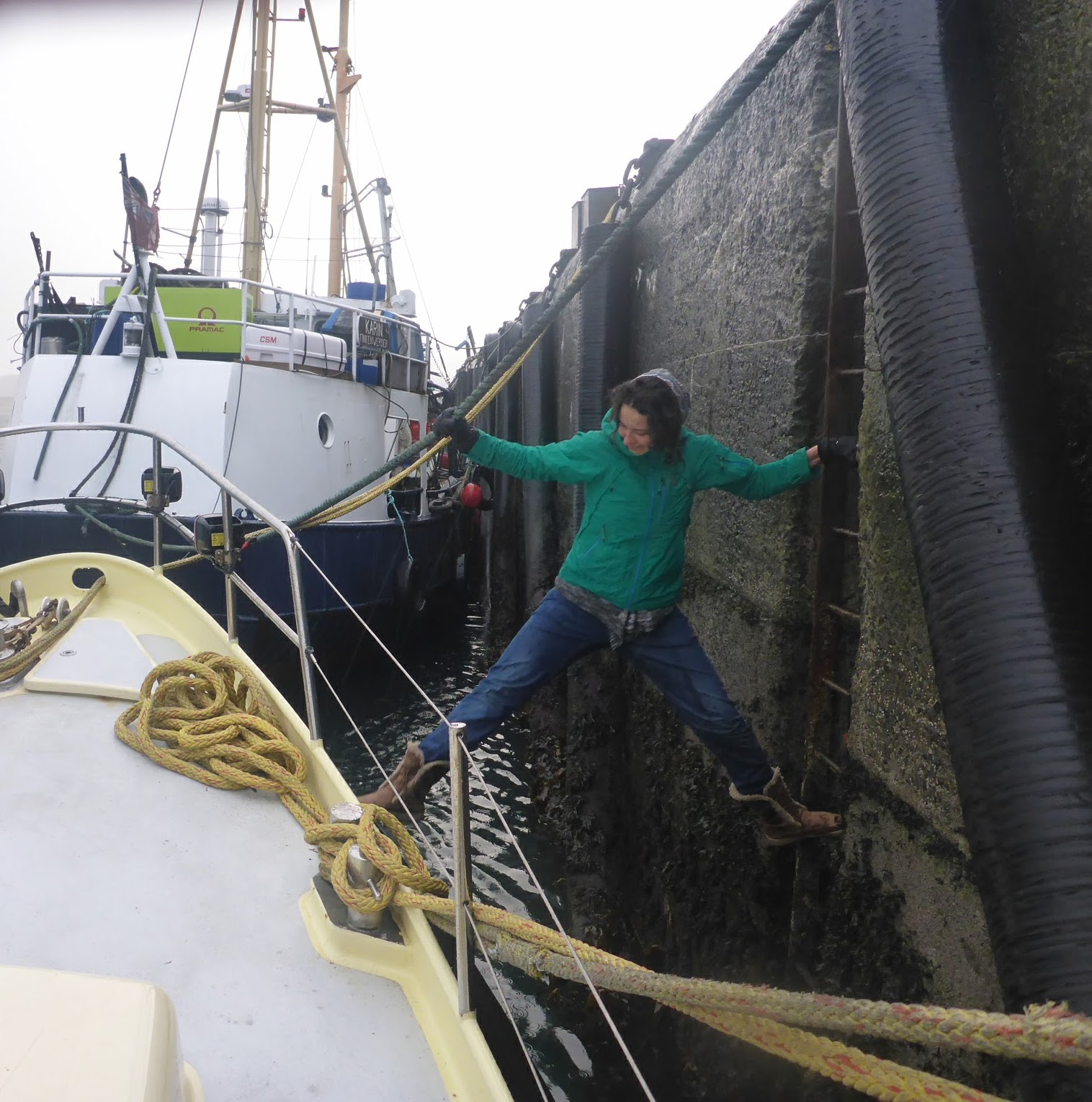 The author pays a visit to a boat crew as part of her job as a data processing field office coordinator in Orkney Islands, Scotland. [Photo] Suzana EL Massri collection