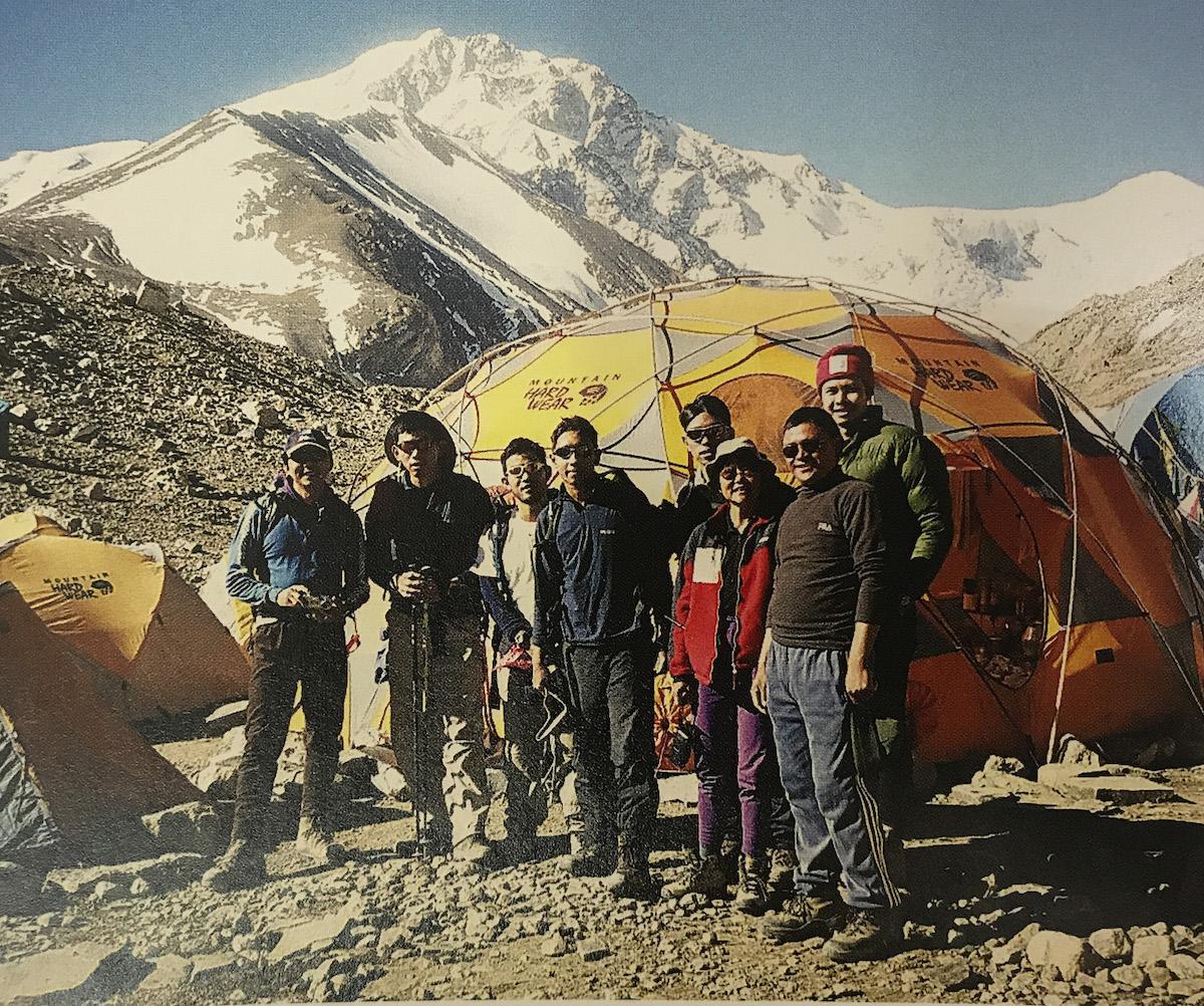 The first Make it Real (MIR) student team visits Robert Goh's Shishapangma base camp in 2002. [Photo] Robert Goh
