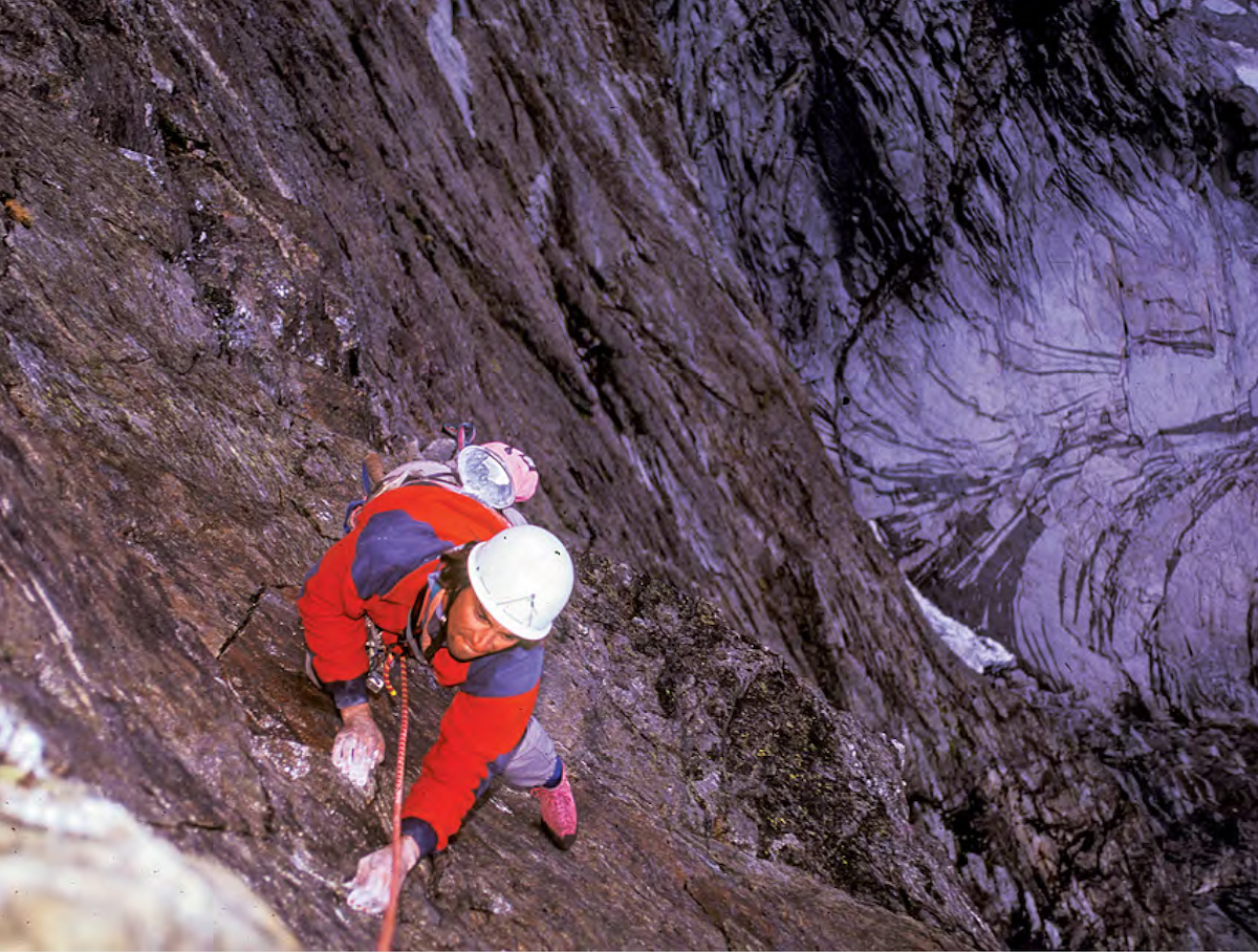 Perry Beckham on East Pillar Direct in 1993. [Photo] Greg Child
