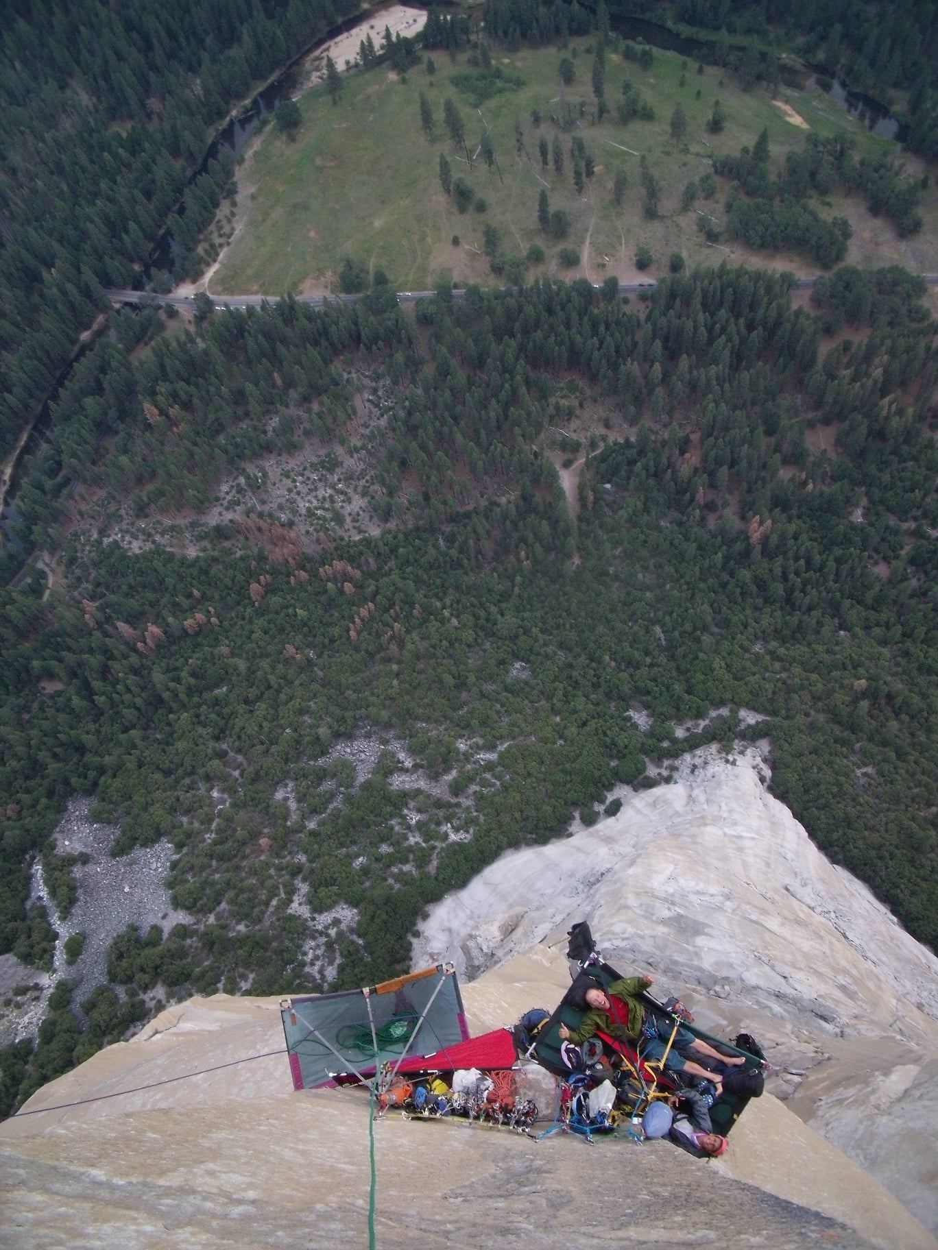 Zabrok and partners enjoying an El Cap route in style. [Photo] Peter Zabrok