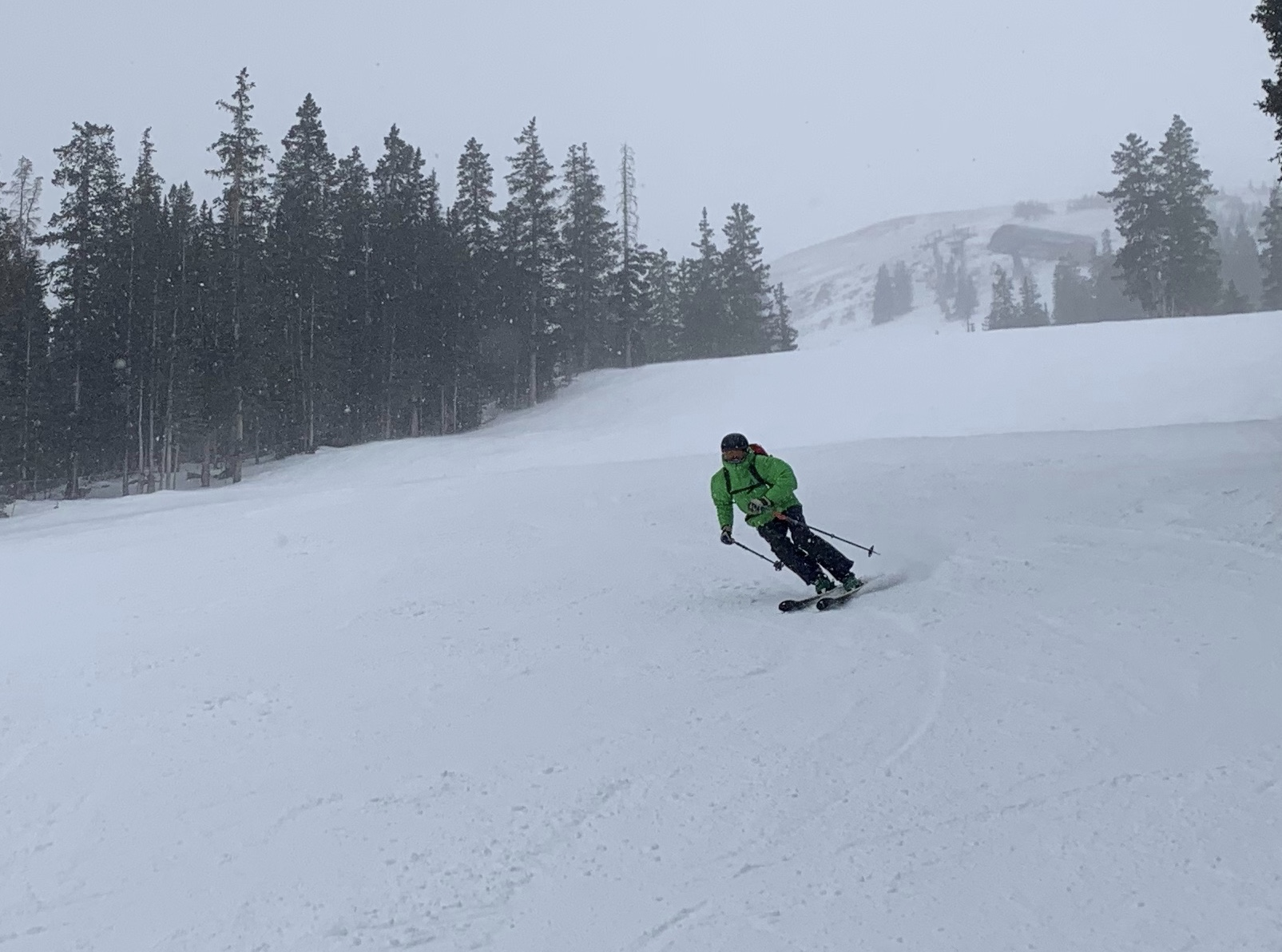 The author uses the low-light lens in overcast snowy weather at Loveland Ski Area. [Photo] Catherine Houston