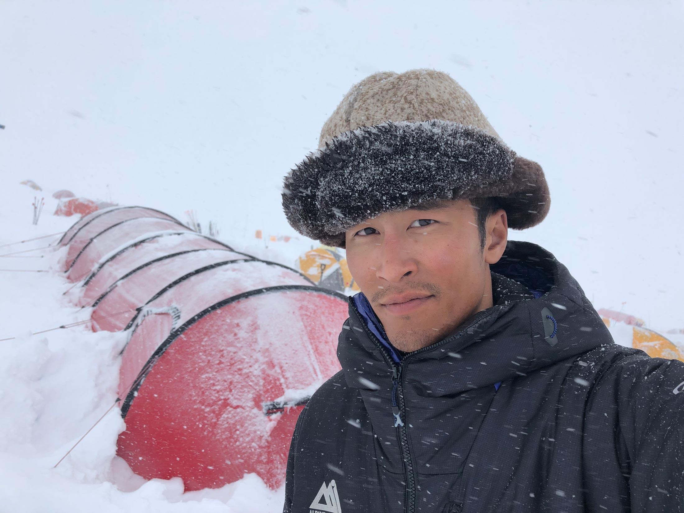 Don Nguyen at the 14,000 foot camp on Denali