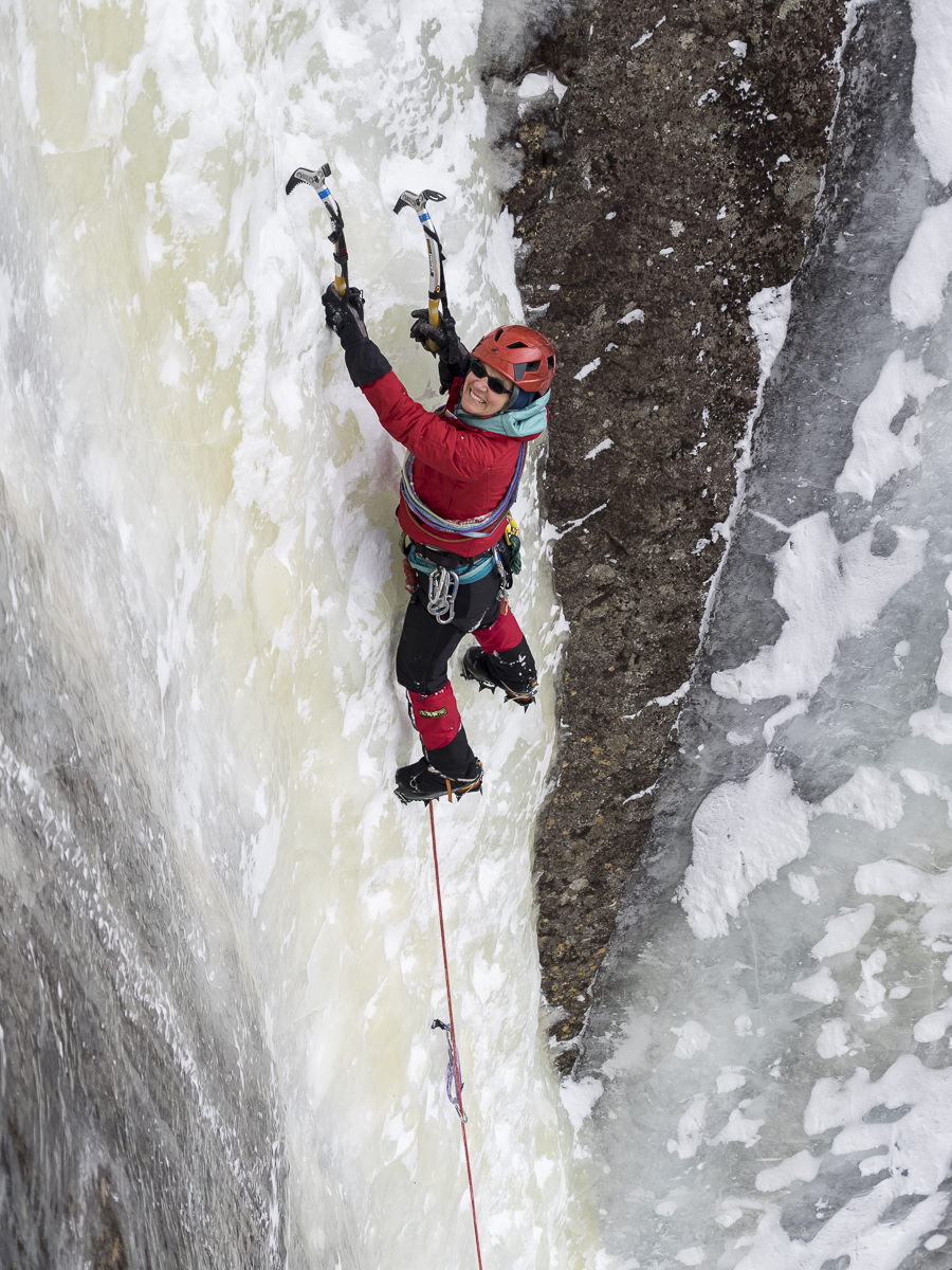 Karen Stolz guiding on the North Face of Pitchoff, Adirondacks, 2015. [Photo] R.L. Stolz, Vertical Perspectives Photography