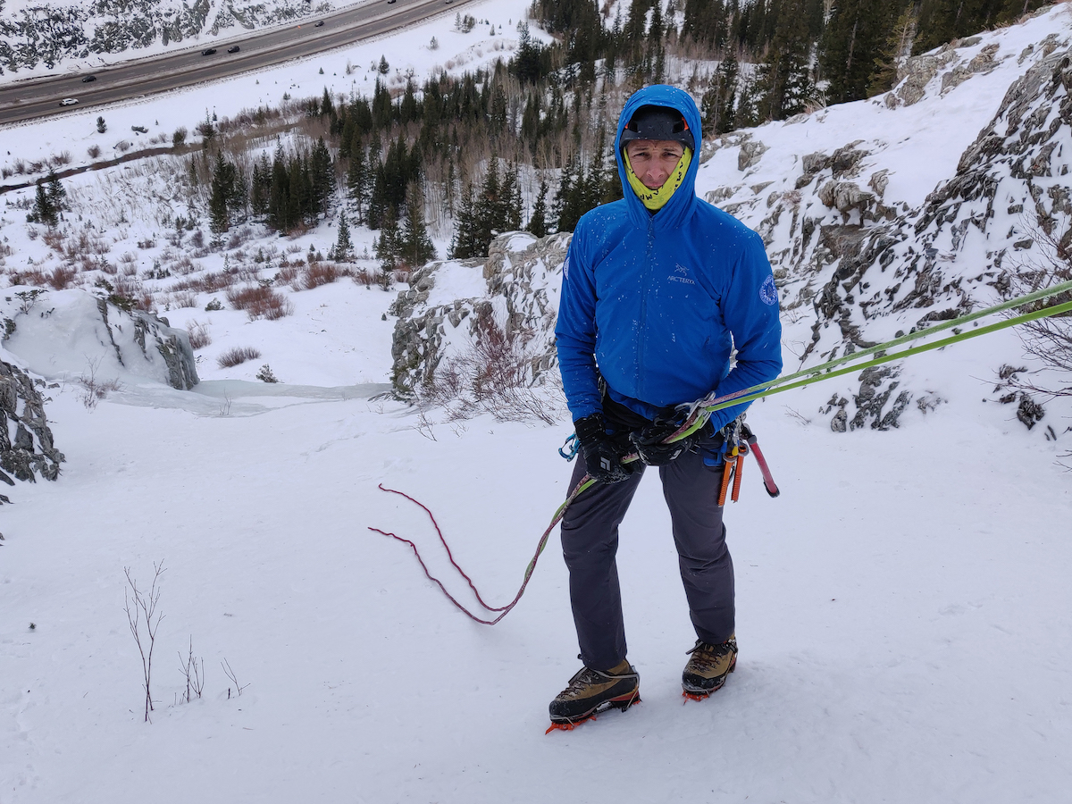 The Red Flag markers alert the author that he is getting near the ends of the rope as he rappels down Three Tiers, an ice route near Copper Mountain, Colorado. [Photo] Yaroslav Lototskyy