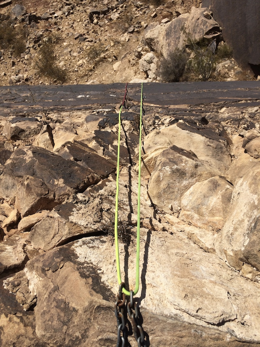 The red end of the Trango Agility makes it apparent that the rappel is not set up appropriately at the Zen Wall near St. George, Utah. [Photo] Mike Lewis