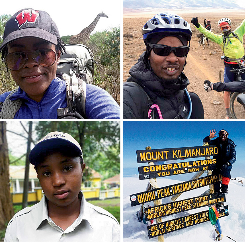 Clockwise from top left: Glory Thobias Salema guides clients to the summit of nearby Mt. Meru, where giraffes frequent the trails. [Photo] Glory Thobias Salema; Alex John Laizer guides biking trips on the trails of Kilimanjaro. As Chairman of the Kilimanjaro Guides Association, Laizer says, I believe in educating people to change the world. We do this in different ways. [Photo] Alex John Laizer; Barnabas at the summit of Kilimanjaro. [Photo] Courtesy Lukiano Barnabas; Rehema Olotu. [Photo] Rehema Olotu