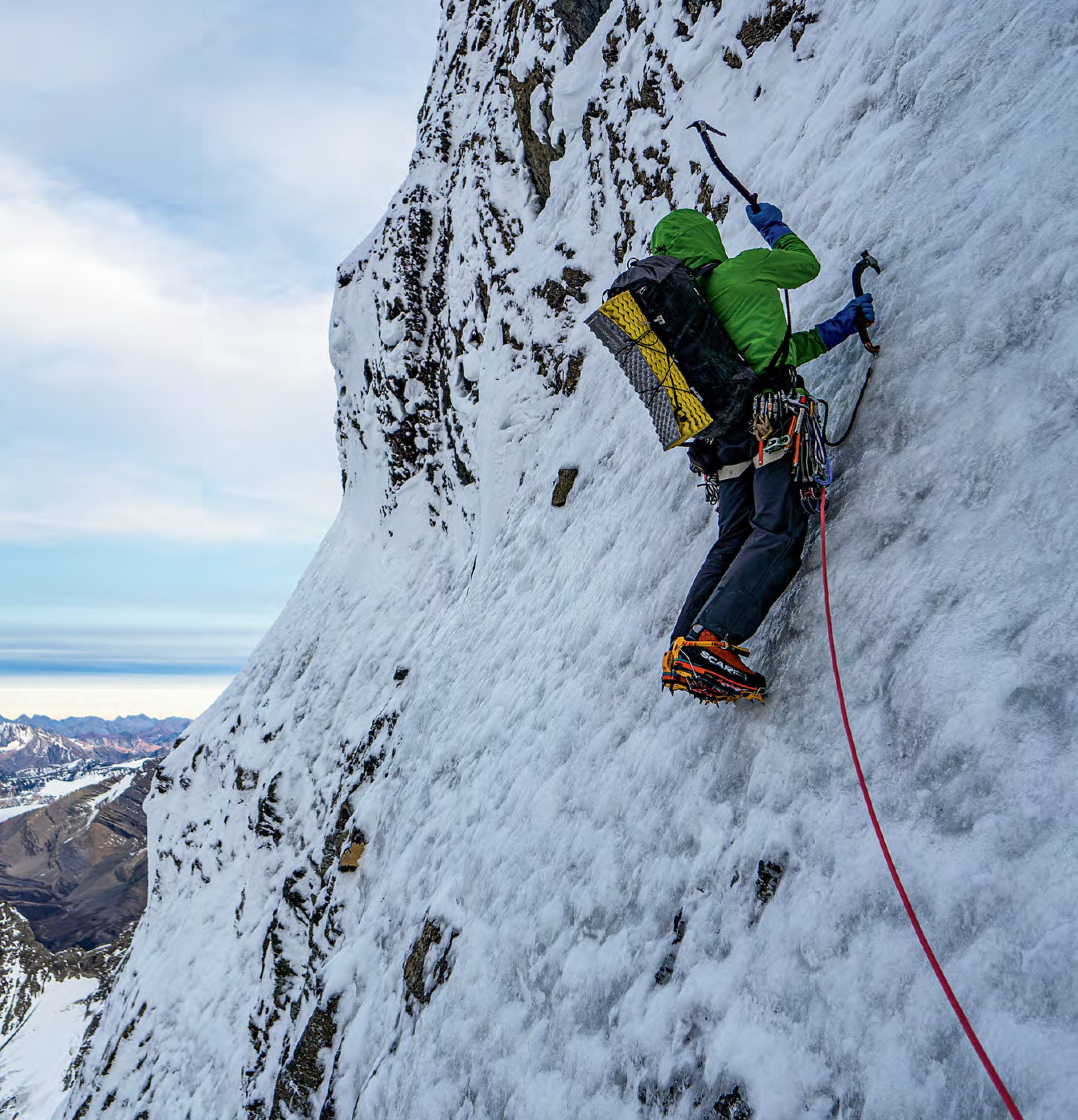 Berman heading toward the steeper mixed climbing on one of the upper pitches. [Photo] Uisdean Hawthorn