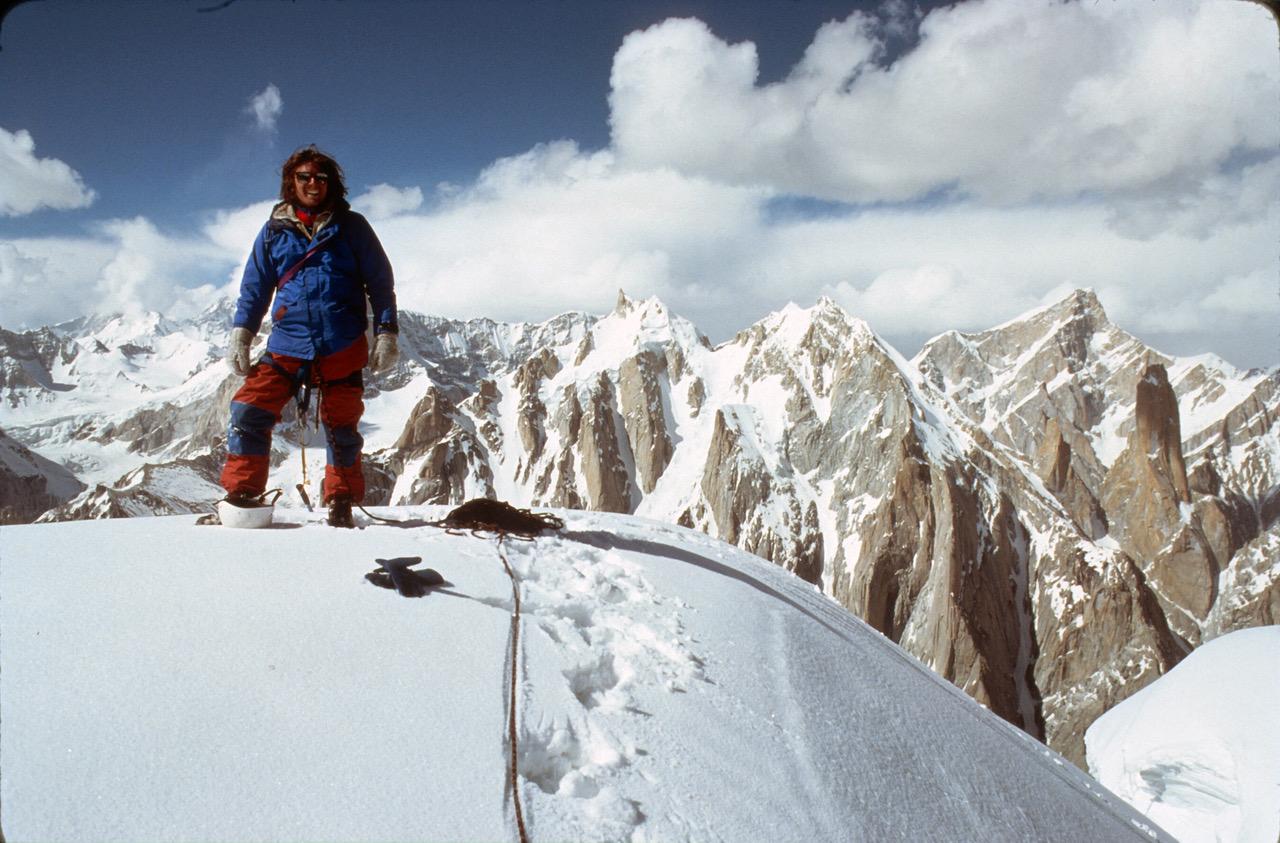 Ron Kauk on top of Uli Biaho, 1979. [Photo] Courtesy of the American Alpine Club
