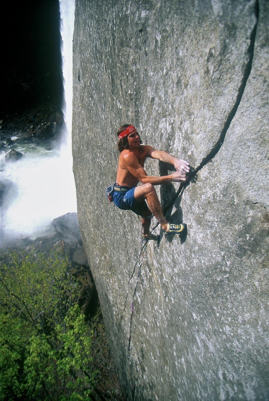 Ron Kauk on Magic Line (5.14). [Photo] Courtesy of the American Alpine Club