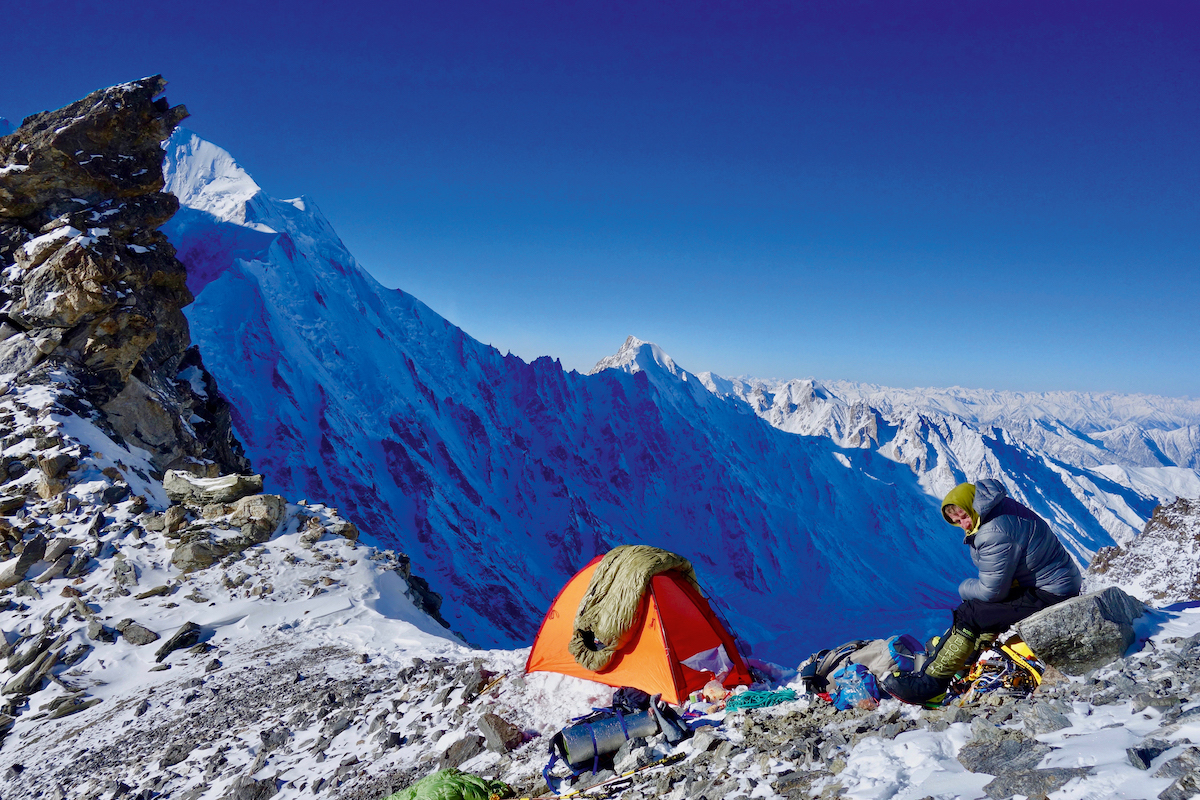 Mackiewicz at the col linking the Diamir Valley to the Diama glacier. [Photo] Courtesy Vertebrate Publishing