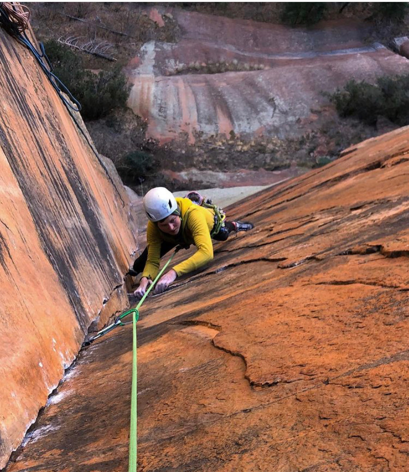 Lor Sabourin following the 5.13+ dihedral pitch while supporting Harrison Teuber's ascent, which took place shortly after Lor's send in late November. [Photo] Harrison Teuber