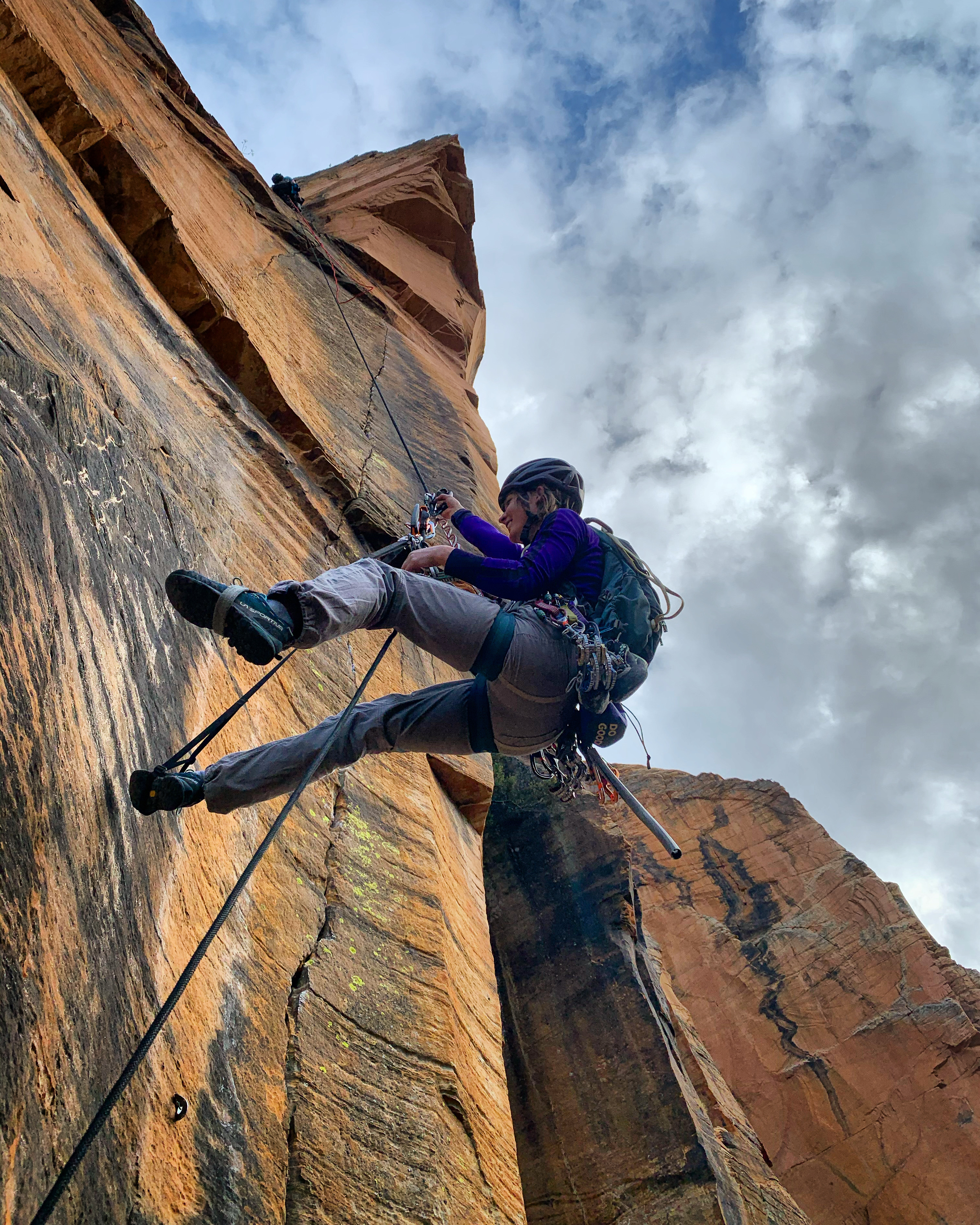 Sarah Holditch jugging out after a day working on the roof pitch. [Photo] Lor Sabourin