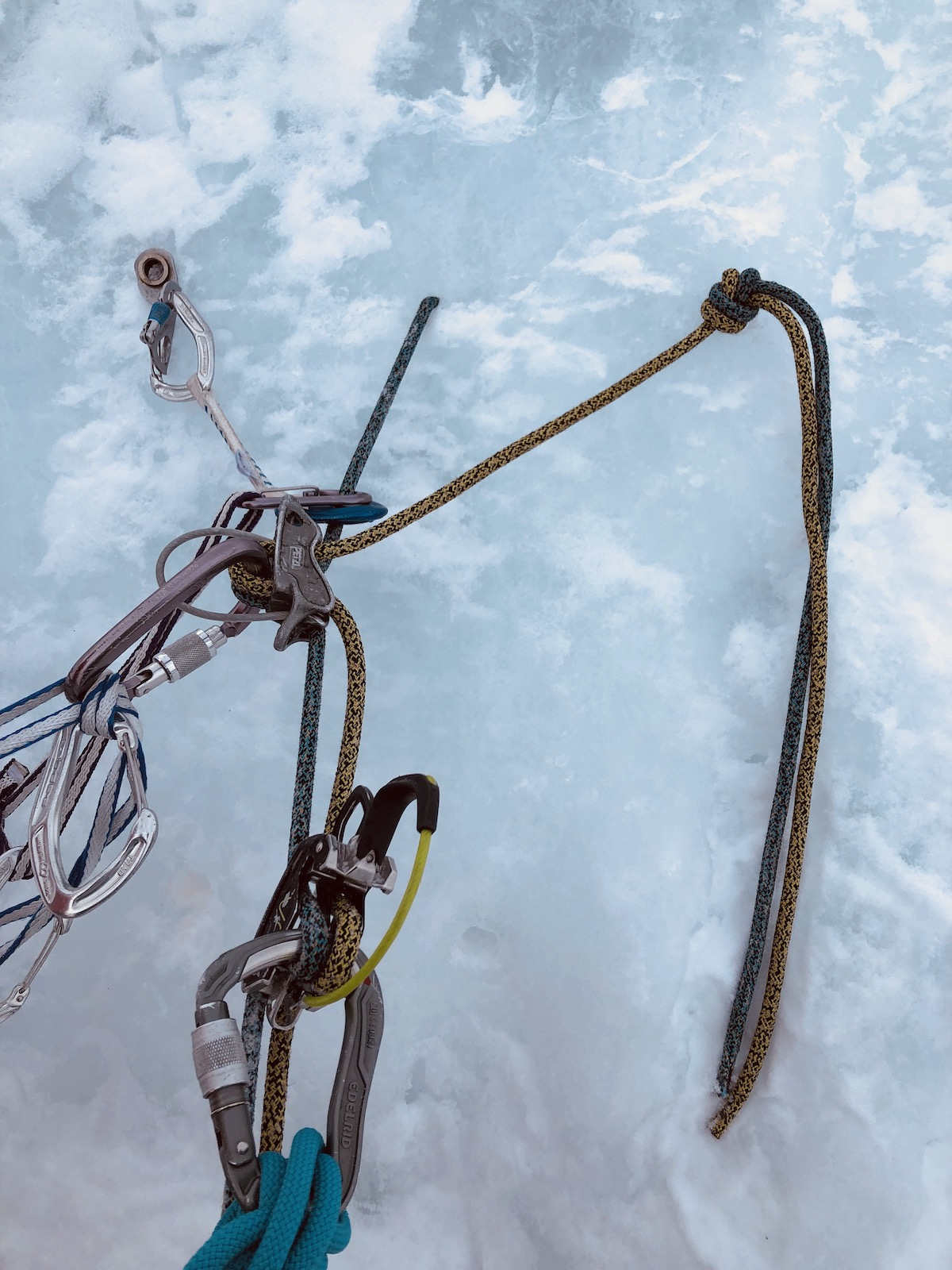A naked V-thread with pre-rigged rappellers using the Starling Protect ropes. [Photo] Rob Coppolillo