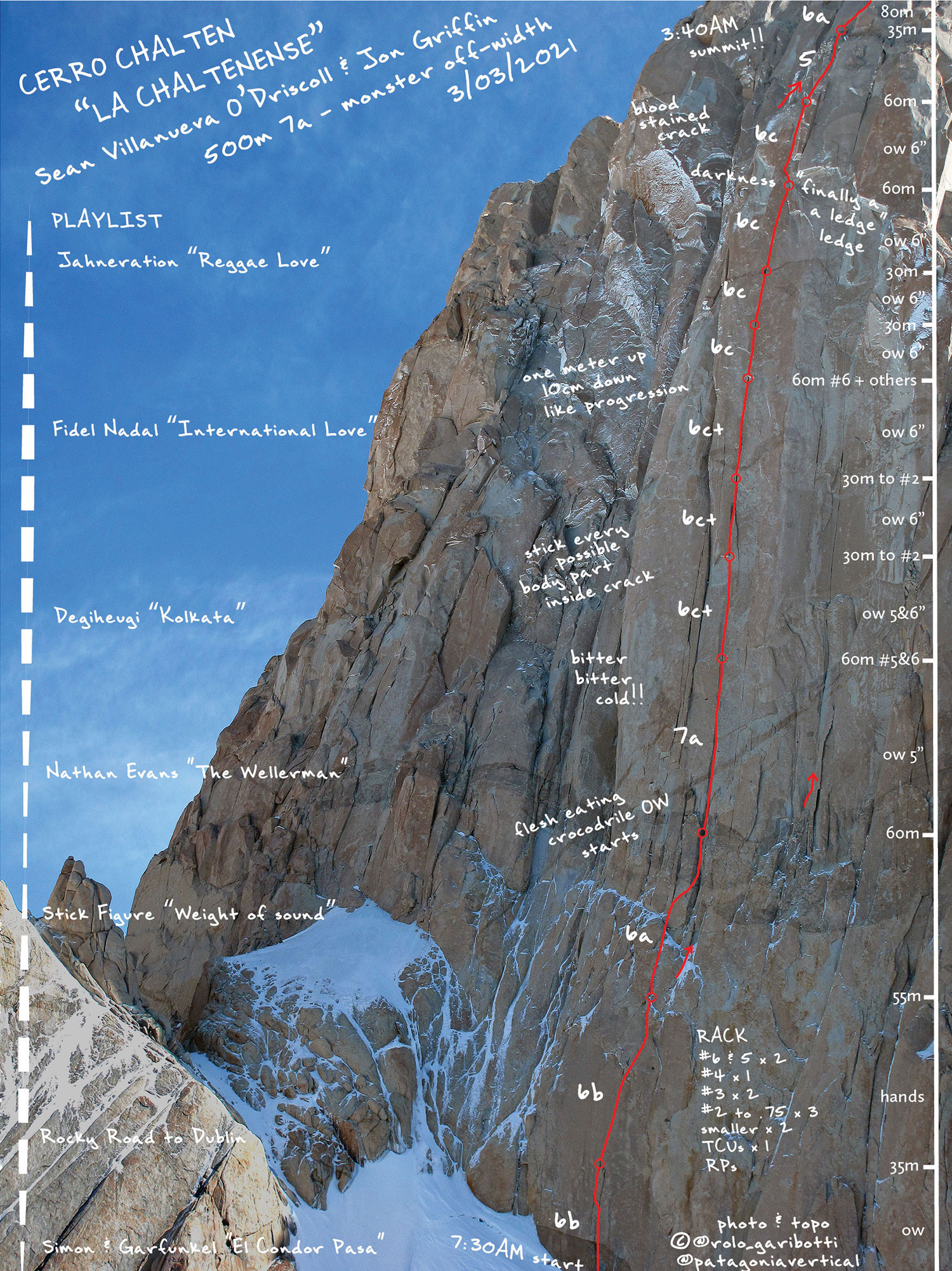 This copyrighted topo shows the route of La Chaltenense (5.11+, 500m) on Fitz Roy. The playlist of songs on the left corresponds to the pitches where they were played. Patagonia guidebook author (and creator of this image) Rolando Garibotti said he came up with the idea after learning that first ascensionist Jon Griffin had carried speakers and played music on almost every pitch. [Image] © Rolando Garibotti @rolo_garibotti @patagoniavertical