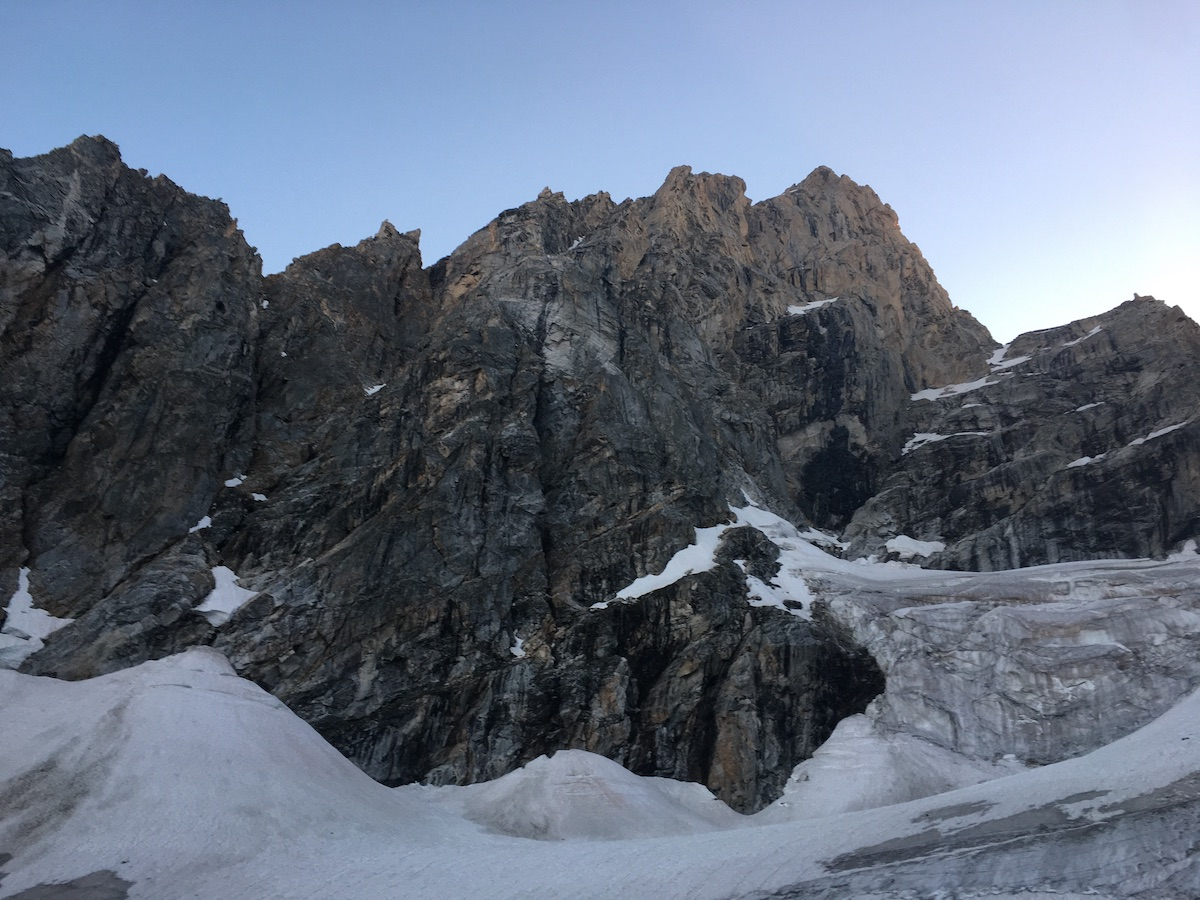 Looking up at the north face of the Grand from the team's bivy site on Teton Glacier. [Photo] Justin Bowen
