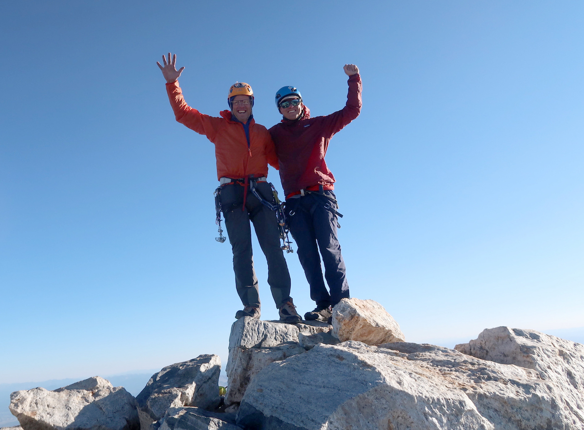 Jenkins (left) and Justin Bowen on the summit at 6:30 p.m. [Photo] Justin Bowen