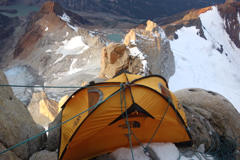 O'Driscoll's tent anchored to a slender perch. [Photo] Sean Villanueva O'Driscoll