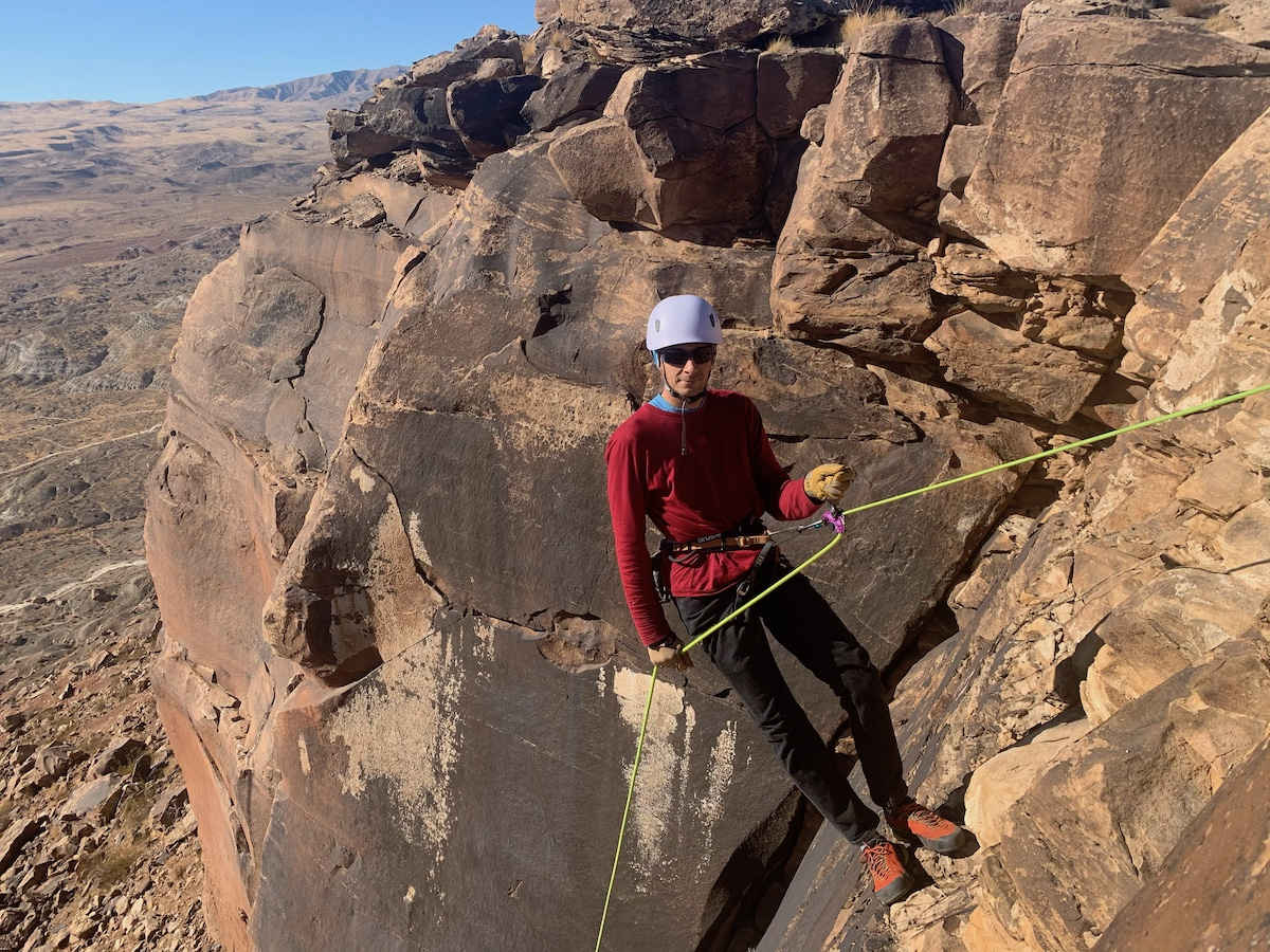 The author using the Trango Vergo to rappel down into the Zen Wall near St. George, Utah. [Photo] Catherine Houston